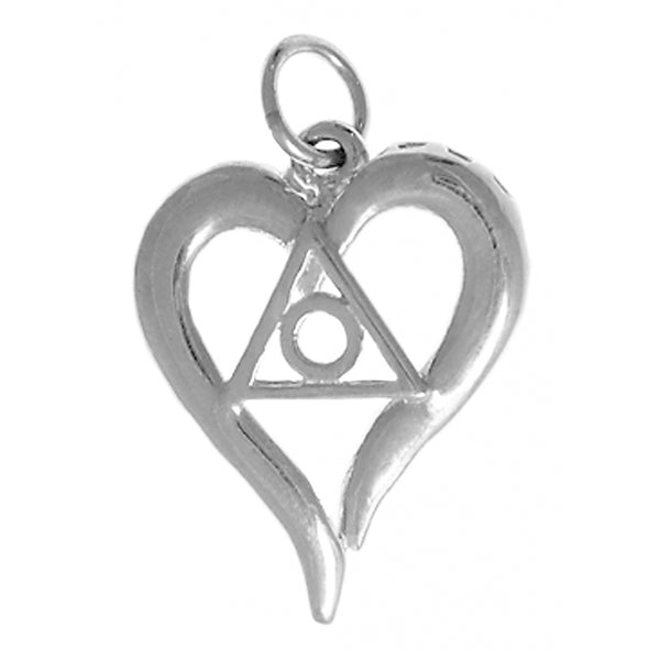 Style #396-16, Sterling Silver, Heart Pendant with Family Recovery Symbol, Medium Size