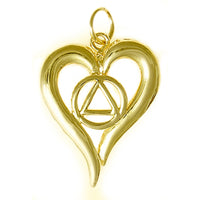 14k Gold Pendant, Alcoholics Anonymous Symbol in a Open Heart, Medium Size - Style #398-4
