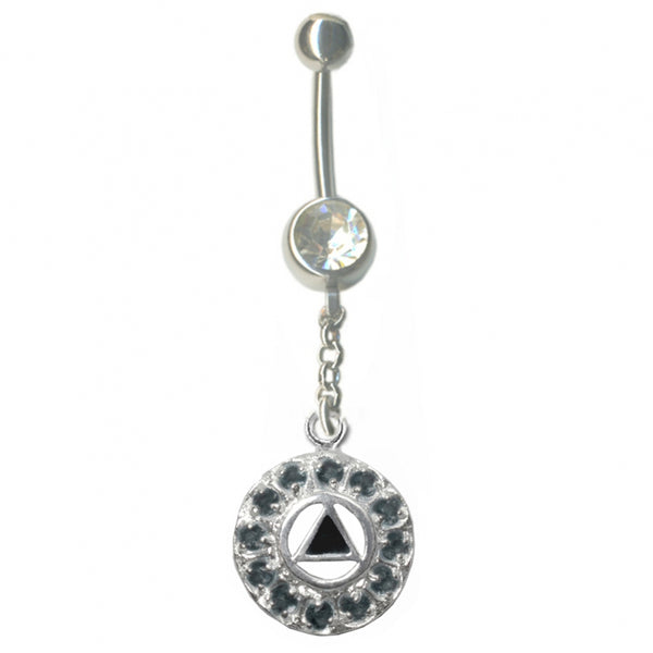Body Jewelry, Charm is Sterling Silver, Black ENarcotics Anonymousmel Inlay w/12 Clear Cubic Zirconia's - Style #427-14
