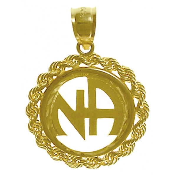 14k Gold, Large Rope Style Pendant with Narcotics Anonymous Initials - Style #43-11