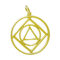14k Gold, Alcoholics Anonymous & Narcotics Anonymous Anonymous Dual Symbol Pendant, Large Size - Style #45-16