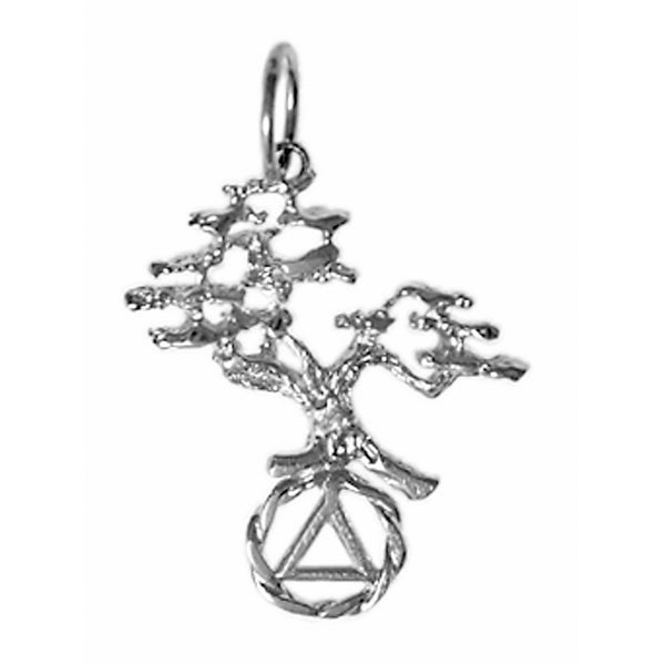 Sterling Silver Pendant, Alcoholics Anonymous Recovery Symbol with a Beautiful Tree of Life - Style #462-5
