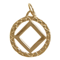 Brass, Narcotics Anonymous Nugget Style Pendant, Antique Finished, Medium Size - Style #481-9