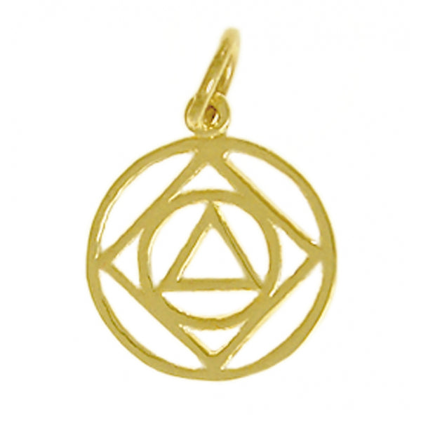 Style #503-16, 14k Gold, AA & NA Anonymous Dual Symbol Pendant, Medium Size
