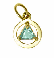 14k Gold, Small Size, Available in 12 Different 5mm Triangle Colored CZ Birthstones - Style #51-2