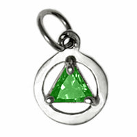Sterling Silver, Small Size, Available in 12 Different 5mm Triangle Colored CZ Birthstones - Style #51-2