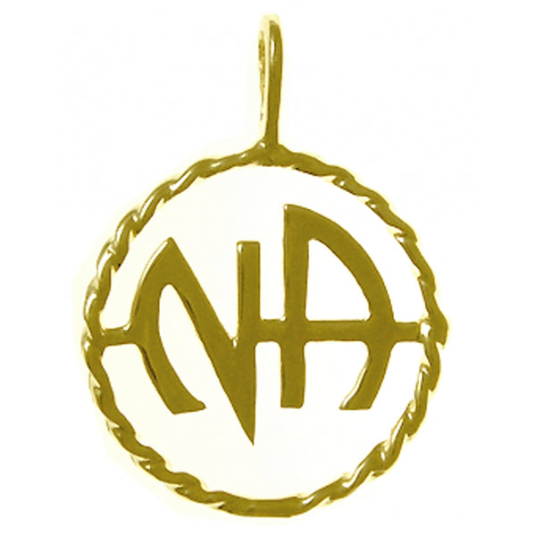 Medium Size, 14k Gold Pendant, Narcotics Anonymous Initials in a Twist Wire Style Circle - Style #525-11