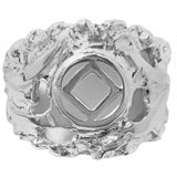Sterling Silver, $45-$63, Mens Ring with Narcotics Anonymous Symbol in a Wide Nugget Style - Style #540-12