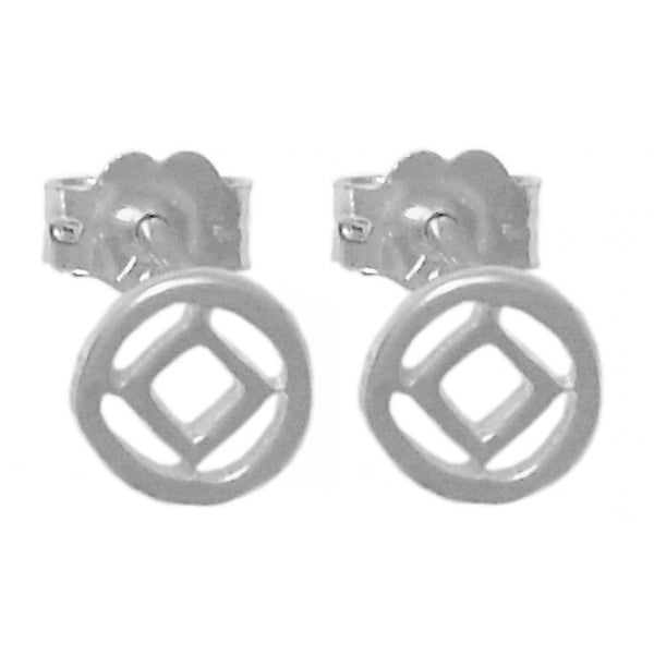 Style #549-13, Sterling Silver Earrings, NA Symbol Small Stud Earrings