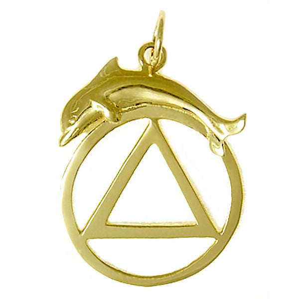 14k Gold Pendant, Alcoholics Anonymous Symbol with a Dolphin, Medium/Large Size - Style #557-4