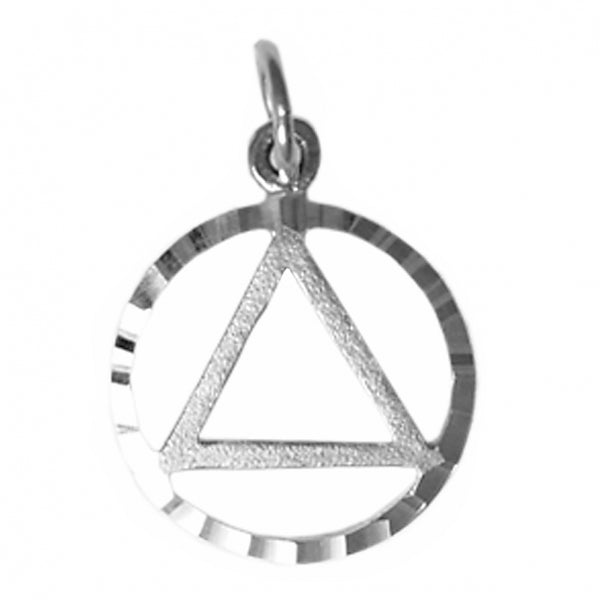 Sterling Silver Pendant, Alcoholics Anonymous Circle Triangle in a Diamond Cut Circle, Medium Size - Style #577-1
