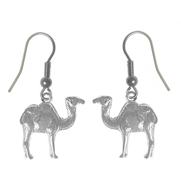 "Sterling Silver Earrings, Adorable Camel ""Can go 24 Hours without a Drink"" - Style #621-13"