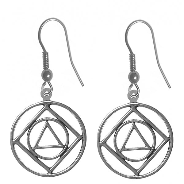 Style #719-13, Sterling Silver, AA & NA Anonymous Dual Symbol Earrings
