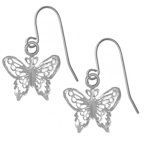 Sterling Silver, Beautiful Small Butterfly Earrings - Style #720-13