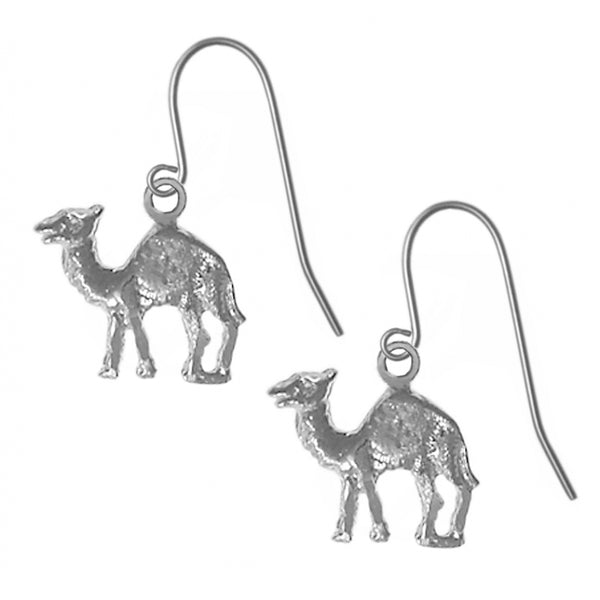 "Sterling Silver Earrings, Adorable Camel ""Can go 24 Hours without a Drink"" - Style #730-13"