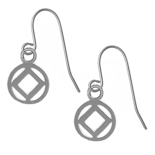 Sterling Silver, Narcotics Anonymous Symbol Earrings - Style #740-13