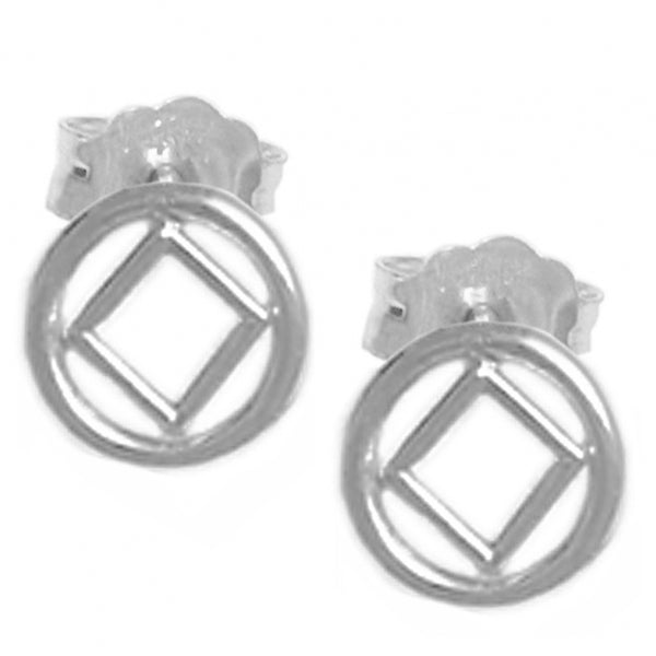 Style #756-13, Sterling Silver Earrings, NA Symbol Small Stud Earrings