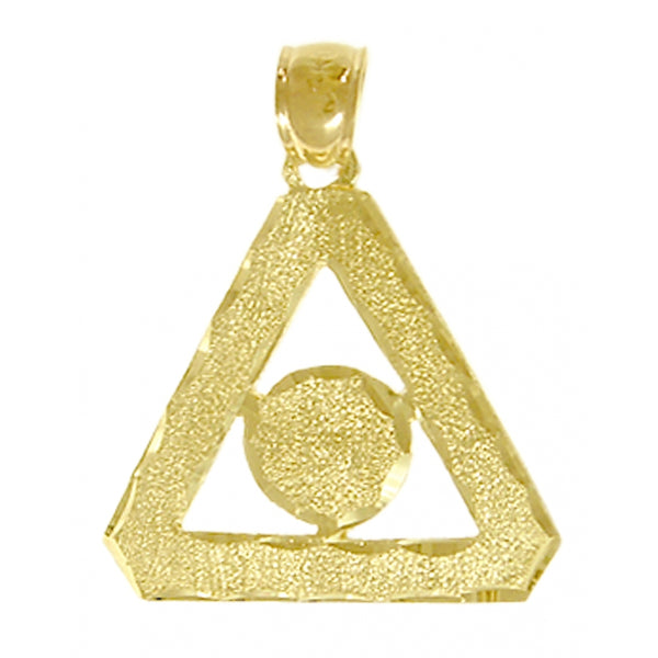 Style #765-16, 14k Gold Pendant, Family Recovery Symbol w/Diamond Cut Accents, Medium Size
