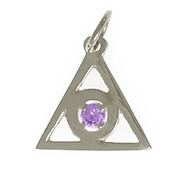 Style #766-16, Sterling Silver, Medium Size, Family Recovery Symbol, Available in 12 Different 3mm Colored CZ Birthstones