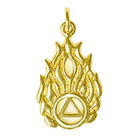 14k Gold Pendant, Alcoholics Anonymous Symbol in Flames - Style #820-5