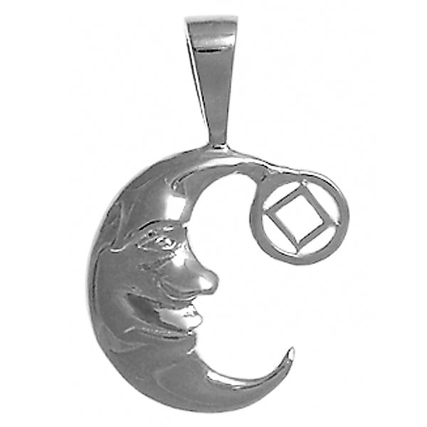 "Sterling Silver, ""Man on the Moon"" Pendant with Narcotics Anonymous Symbol, Medium Size - Style #827-9"