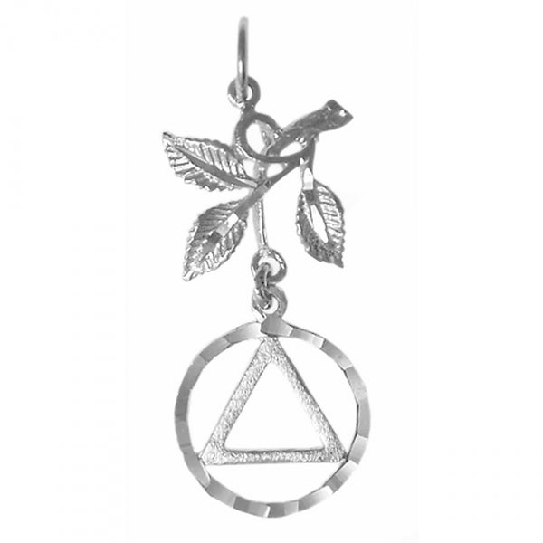 Sterling Silver Pendant, Textured Triangle in a Diamond Cut Circle with 3 Leaves - Style #829-3