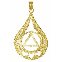 Style #833-3,14k Gold Pendant, AA Circle Triangle w/3 Hearts set in a Filigree Style Tear Drop