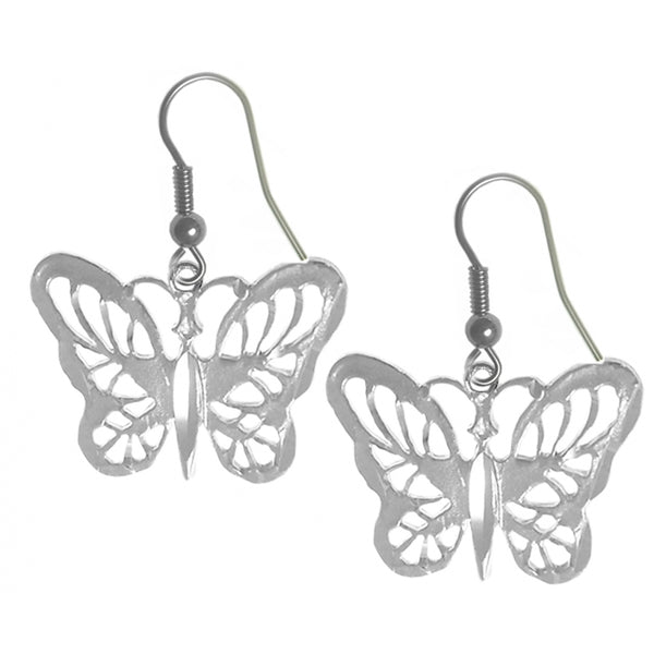 Sterling Silver, Beautiful Butterfly Earrings - Style #853-13