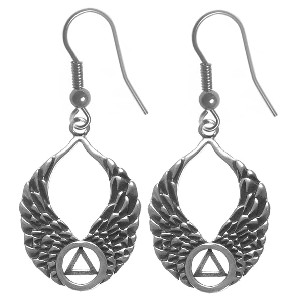 Sterling Silver Earrings, Alcoholics Anonymous Recovery Symbol on Beautiful Angel Wings - Style #857-6
