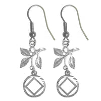 Sterling Silver Earrings, Narcotics Anonymous Symbol in a Circle with 3 Leaves - Style #860-13