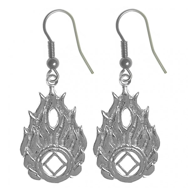 Sterling Silver Earrings, Narcotics Anonymous Symbol in Flames - Style #863-13