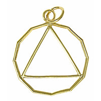 14k Gold, 12 Sided Circle Triangle Pendant, Lrg/Med Size - Style #866-2