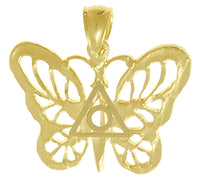 14k Pendant, Butterfly with Family Recovery Symbol in the Center - Style #868-16