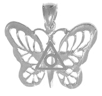 Sterling Silver Pendant, Butterfly with Family Recovery Symbol in the Center - Style #868-16