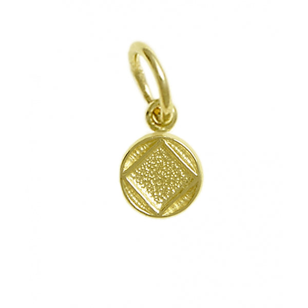 14k Gold Pendant, Narcotics Anonymous Coin Style Symbol, Very Small Size - Style #879-9