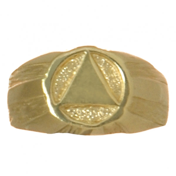 14k Gold, Mens Ring with Alcoholics Anonymous Symbol in an Understated Signet Style - Style #87-8