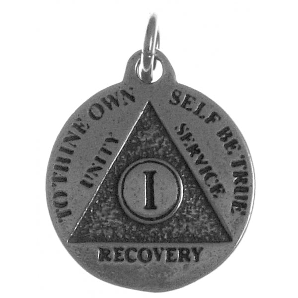 Style #895-5, Mini Recovery Medallions, Your Choice of Blank, 24 Hour or Years 1-20, 25 & 30, Sterling Silver, Serenity Prayer on Back