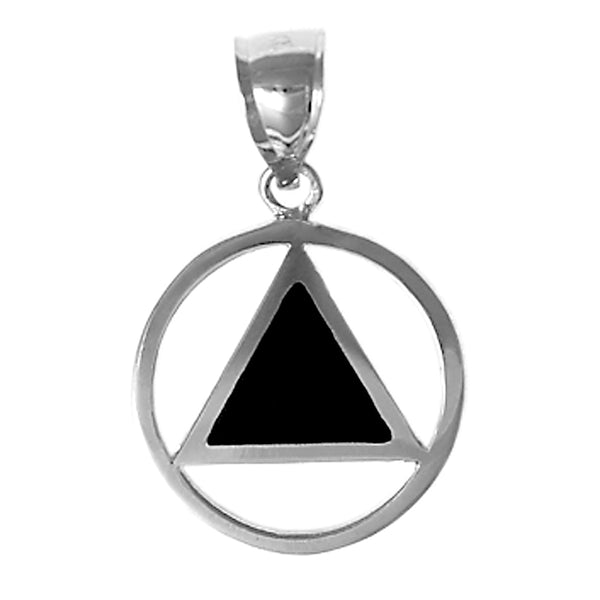 Style #921-5, Sterling Silver, AA Symbol Pendant with Black Enamel Inlay, Medium Size*