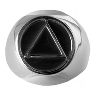 Style #951-8, Sterling Silver, $40-$50, Mens Ring, AA Symbol with Black Enamel Inlay