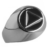 Sterling Silver, $40-$50, Mens Ring, Alcoholics Anonymous Symbol with Black Enamel Inlay - Style #951-8