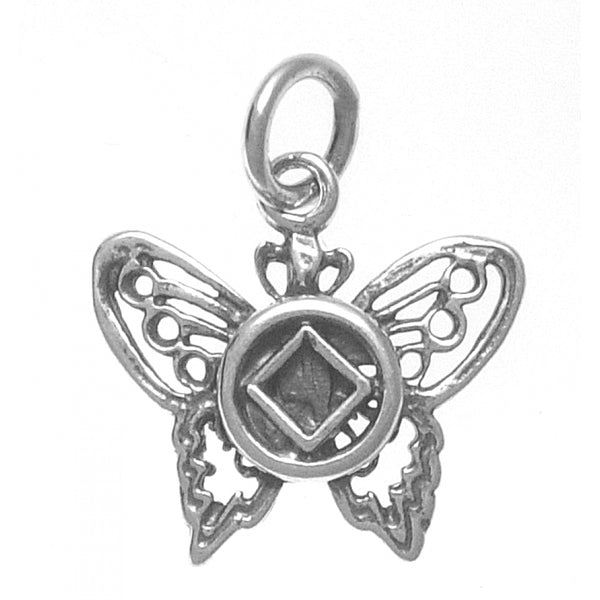 Sterling Silver Pendant, Narcotics Anonymous Symbol on a Small Beautiful Butterfly - Style #979
