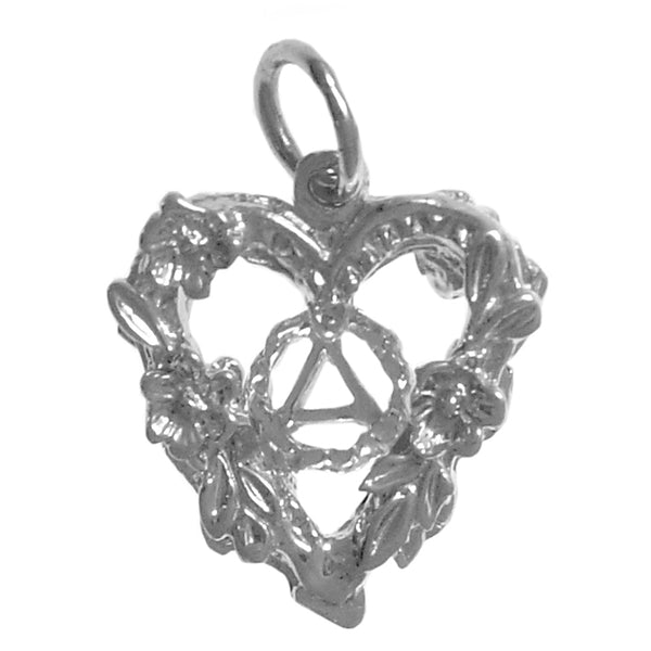 Sterling Silver Pendant, Alcoholics Anonymous Symbol in the Center of a Open 2 Sided Heart with Flowers - Style #984