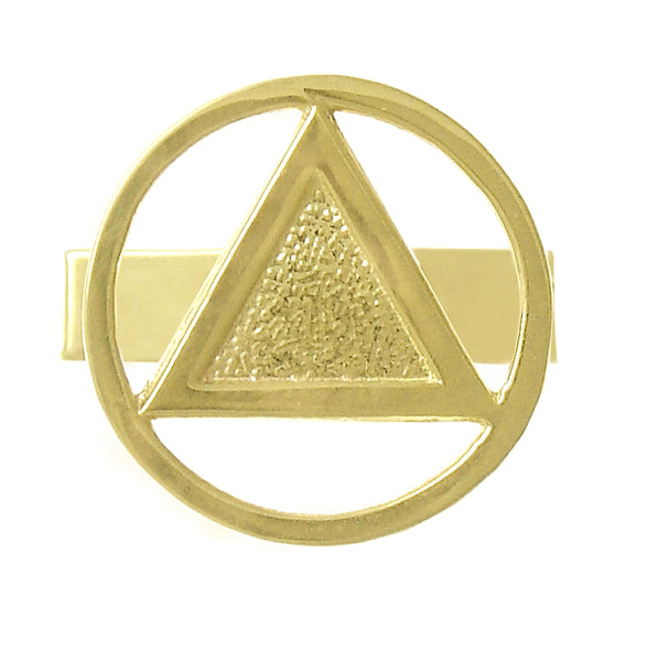 14k Gold Cuff Links, Alcoholics Anonymous Circle Triangle in Solid Coin Style Finish - Style #400
