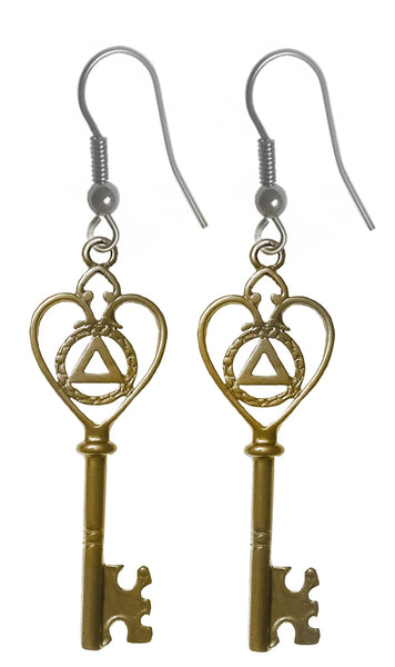 Brass Earrings, Old Style Heart Shaped Key with Alcoholics Anonymous Symbol - Style #1036