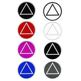 "3"" Round Alcoholics Anonymous Recovery Symbol Sticker, Available in 7 Colors - Style #RS5"