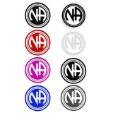 "3"" Round ""NA"" Initial Recovery Sticker, Available in 7 Colors - Style #RS7"