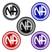 "1-1/2"" Round ""NA"" Initial Recovery Sticker, Available in 5 Colors - Style #RS3"