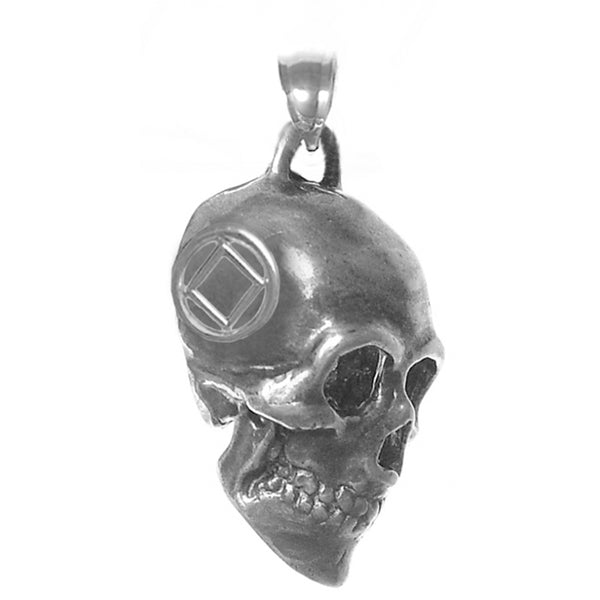 Sterling Silver, 3d Skull with Narcotics Anonymous Symbol in a Small Smooth Wire Circle on Both Sides - Style #1031