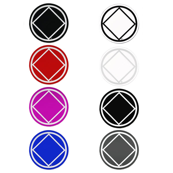 "Set of 8 3"" RS6 Round Narcotics Anonymous Recovery Symbol Stickers, All 8 Different Colors"