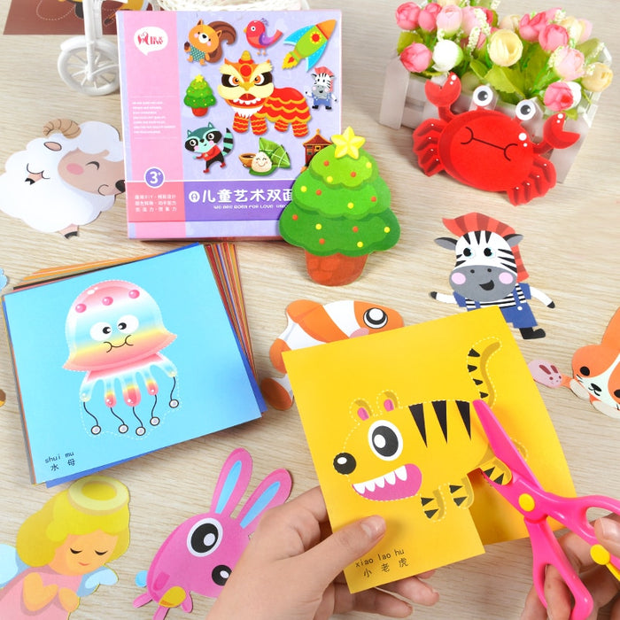Cartoon color paper folding and cutting toys - BrightBailey